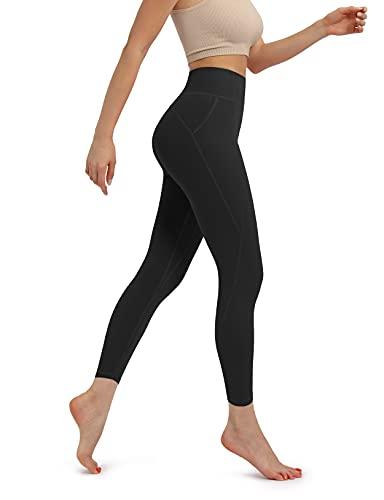 ODODOS Leggings de yoga de cintura alta con bolsillo, pantalones deportivos para correr, con bolsillo - negro - Large