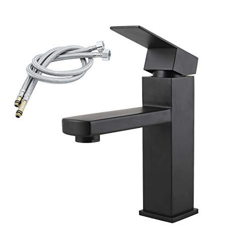 Grifos de Lavabo de baño de una Sola manija Europea Moderna, Grifo de Lavabo de Lavabo de lavadero, Negro, con Manguera de 80 cm