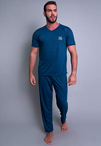 Pijama MVB Modas Longo Adulto Masculino Manga Curta E Calça