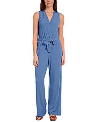 NY Collection Petite Belted Sleeveless Jumpsuit