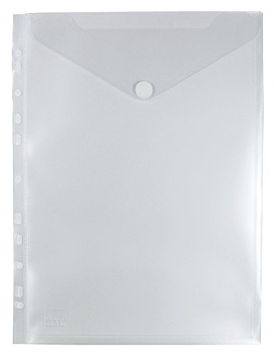 EXXO by HFP 35461 Prospekthülle mit Klappe und Abheftrand, 10 Stück, 310 x 235 mm, transparent natur