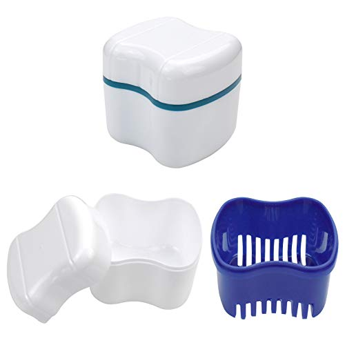 Denture Bath Container Cups with Strainer & Lid for Soaking False Teeth...