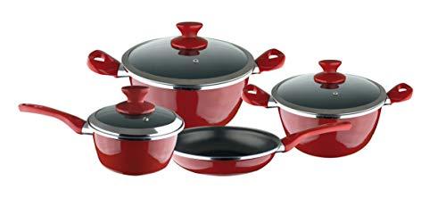 Magefesa Esp-Fit - Batería de Cocina 7 piezas. Material acero vitrificado exterior rojo. Antiadherente bicapa Reforzado. Apta para todo tipo de cocinas, especial inducción. 50% de ahorro energético.