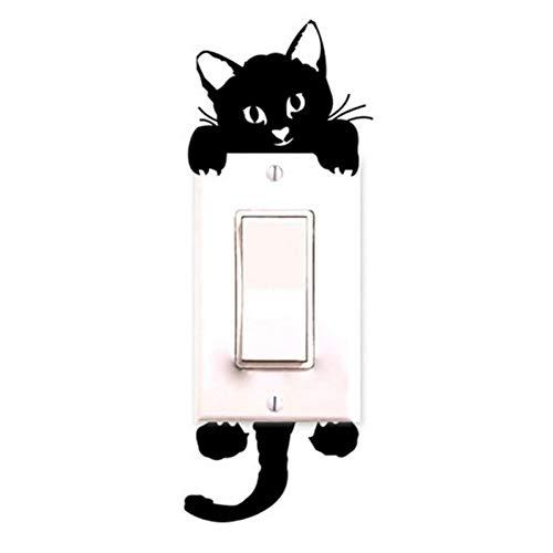 Sticker voor lichtschakelaar, decoratie voor thuis, glinsterende cartoons, zwart licht, kat, decoratief, schattig