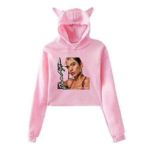 SDTSHOP Dua Lipa - Sudadera con capucha para niña, diseño de orejas de gato, color rosa Rosa De Color Rosa Oscuro S
