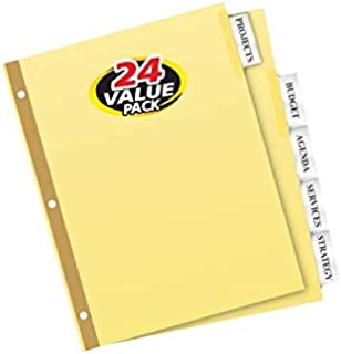 Avery 5-Tab Binder Dividers, Insertable Clear Big Tabs, 24 Sets (11113)