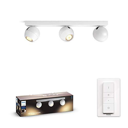 Philips Hue White Amb. LED 3-er Spotleuchte Buckram inkl. Dimmschalter, weiß, dimmbar, alle Weißschattierungen, steuerbar via App, kompatibel mit Amazon Alexa (Echo, Echo Dot)