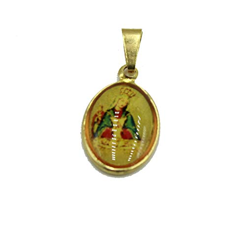 Diamantados of Florida Virgen de Altagracia Medalla - Medalla de Nuestra Señora de Altagracia chapada en Oro de 18 K con Cadena de 18 Pulgadas