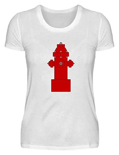 SPIRITSHIRTSHOP - Camiseta de Manga Corta para Mujer, diseño de Bombero Blanco S