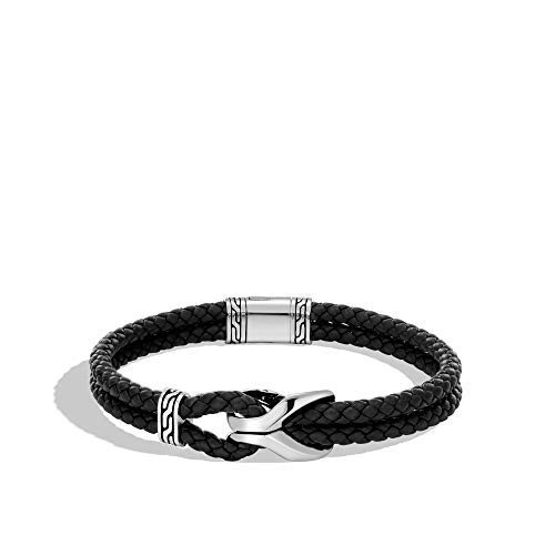 MEN's Asli Classic Chain Link Silver Bracelet on 4mm Black Leather Cord with Pusher Clasp (Medium)