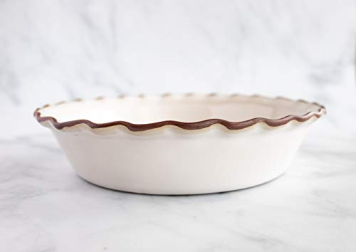 Ceramics Artisan Stoneware Pie Dish- Fluted 9 inch Deep Dish Ceramic Pan