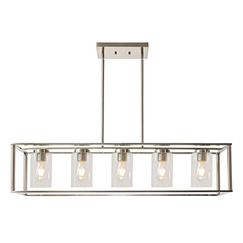 VINLUZ Contemporary Chandeliers Brushed Nickel 5 Light Modern Vintage Dining Room Lighting Fixtures Hanging, Kitchen Island Cage Pendant Lights Farmhouse Flush Mount Ceiling Light with Glass Shade