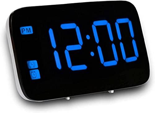 Reloj Despertador Digital, Mesa Relojes de Escritorio Pantalla Digital LED Reloj Despertador Control de Voz Retroiluminación Snooze electrónico USB/AAA