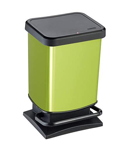 Rotho Paso Mülleimer 20l mit Pedal und Deckel, Kunststoff (PP) BPA-frei, grün/metallic, 20l (29,3 x 26,6 x 45,7 cm)