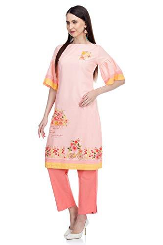 BIBA Women's Cotton Kurta (Summer P14838_Peach_2XL (42))