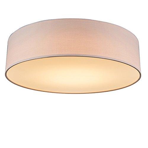 QAZQA Modern Rosa Deckenleuchte/Deckenlampe/Lampe/Leuchte 40 cm inkl. LED - Drum mit Schirm/Innenbeleuchtung/Wohnzimmerlampe/Schlafzimmer/Küche Textil/Stahl Rund/LED module Max. 1 x