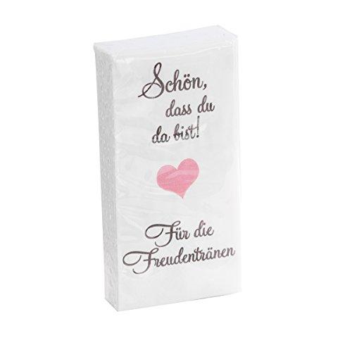 in due 10 x 10 Taschentücher 'Schön, DASS du da bist - Für die Freudentränen' Taupe-ROSA zur Hochzeit, Taufe oder Kommunion