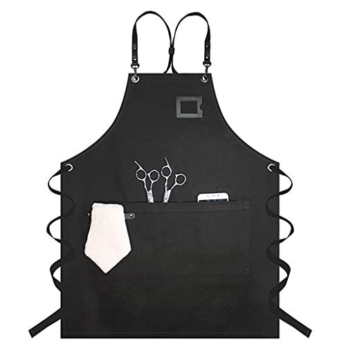 Oyrcvweuy Delantal de lona resistente a las gotas de agua con bolsillos artesano de madera, camarero, pintura de trabajo, espalda cruzada, ajustable, delantal