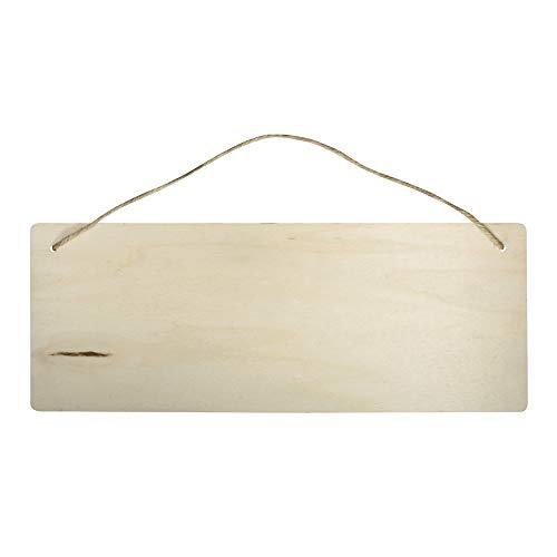 Rayher 62849505 Holzschild Rechteck, 40 x 15 cm, Stärke 6 mm, mit Jute-Aufhänger, Birkenholz, FSC zertifiziert, Holzschild zum Aufhängen, Holzbrett, Türschild, Holzhänger blanko