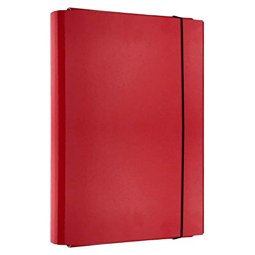D.RECT Caja de cartón con goma elástica A4, 40 mm, color rojo