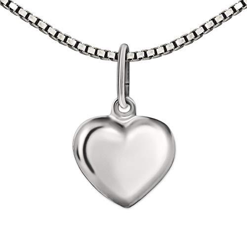 Clever Schmuck Set Silberne Mädchen Halskette mit Anhänger Mini Herz 8 mm schlicht beidseitig leicht plastisch gewölbt glänzend & Kette Venezia 40 cm STERLING SILBER 925