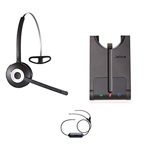 Avaya Phone Certified Jabra Cordless Headset | PRO 920 Avaya Bundle | Avaya Compatible VoiP Phones: 9601, 9611, 9611g, 9621, 9641 | Remote Answer Included| (Mono - Black)