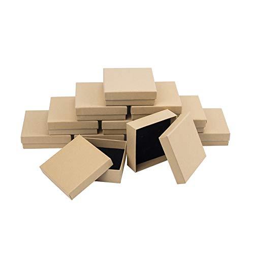 nbeads 24Pcs Boîte en Carton Rectangulaire Burlywood Cadeau pour Affichage de Bijoux et de Stockage, 9 × 9 × 3cm