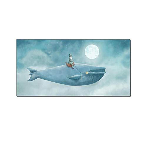 MULMF Cartoon Alter Mann Auf Dem Wal Leinwand Malerei Wandbilder Für Kinderzimmer Dekoration Raum Wandkunst Poster Und Drucke - 40X80Cm Ungerahmt