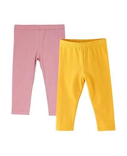 Amomí 2-Pack Leggins Mallas Pantalones Largos Ropa Deportiva Niña Bebé 18 Meses, Pack de 2 (18 Meses, Rosa+Amarillo)