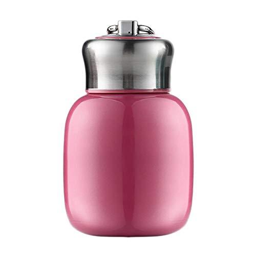 Frasco térmico pequeño, 200 ml, botella de agua aislada al vacío, sin fugas, zumo, leche, vacío, botella de agua caliente y fría, regalo para niñas, niños y adultos (rosa)
