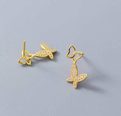 WOZUIMEI Pendientes de Plata S925 Estilo Coreano Femenino Estilo Literario Pendientes de Mariposa de Diamantes Completos Temperamento Personalidad Huecooro