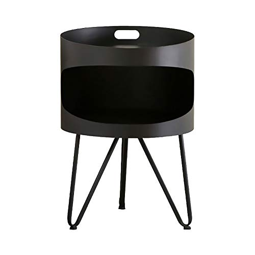 Coffee Round Table, 2 Tier Metal Nightstand, Modern Sofa Side Snack Table, Bedside End Table Lamp Table, for Living Room Bedroom