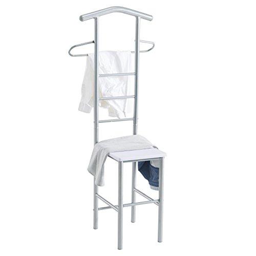 CARO-Möbel Herrendiener Stummer Diener Kleiderständer JIVO, in weiß alufarben,121 cm, Garderobe mit Hosenbügel