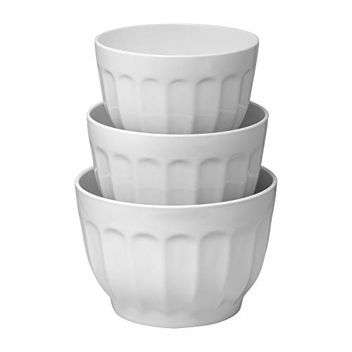 Gourmet Art 3-Piece Latte Heavyweight and Durable Melamine Prep and Serve Mixing Bowl Set, White, Home Essentials Cooking and Baking Tools, for Dry and Liquid Ingredients Kitchen and Everyday Use