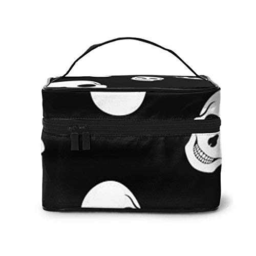 Modèle sans Couture Crânes Blancs Voyage Maquillage Train Case Maquillage Cosmetic Case Organizer Portable Storage Bag