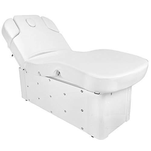 Activeshop Tumbona de masaje, mesa de masaje, silla de masaje, silla de masaje eléctrica 370 con 4 motores, color blanco, soporta hasta 200 kg, piel sintética prémium con calefacción