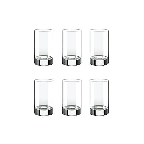 SUTIA Taza de agua, vaso de jugo de cristal sin plomo, taza de leche, taza de té, vaso de whisky, vidrio transparente-seis paquetes redondos cortos