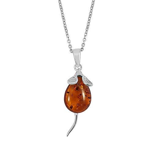 Kiara Sieraden 925 Sterling Zilver Muis Hanger Ketting Inset Met Bruine Baltische Amber op 18