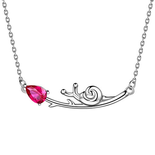 Aurora Tears 925 Sterling Sliver Snail Necklace with Branch Pendant Red Ruby Dating Gifts for Women and Girls DP0150R