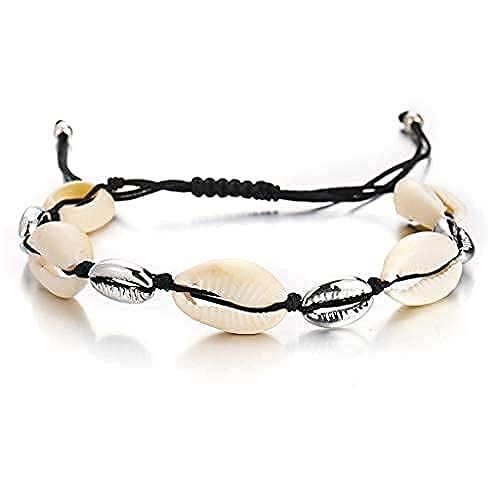 Branets Pulsera de concha de playa trenzada pulseras de cuerda ajustable para mujeres y niñas