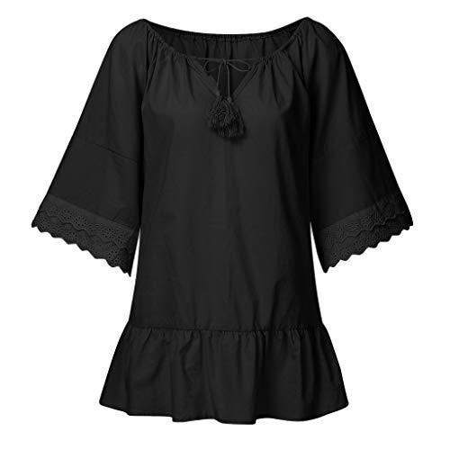 Camiseta de manga larga con encaje de Mingger, de manga larga, con cuello de pico, para mujer, de manga larga, de verano Negro Negro ( L