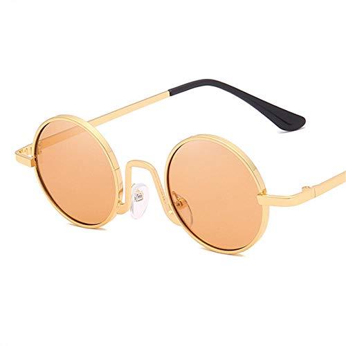 Gafas De Sol Hombre Mujeres Ciclismo Gafas De Sol Redondas para Mujer Y Hombre, Gafas De Sol De Metal Vintage para Mujer, Gafas De Sol para Hombre, Gafas Rojas Y Rosas-No.3Brown