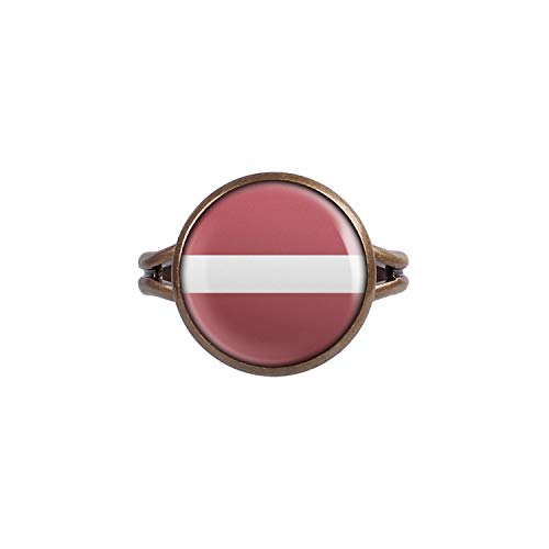 Mylery Ring mit Motiv Lettland Latvia Riga Flagge bronze 14mm