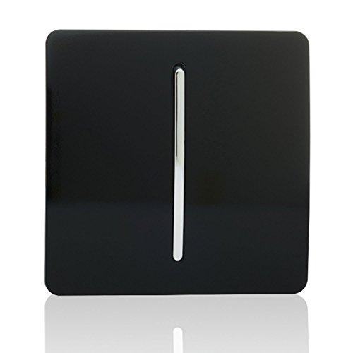 Trendi - Interruptor de luz artística Moderna, Brillante, 10 A, Color Negro