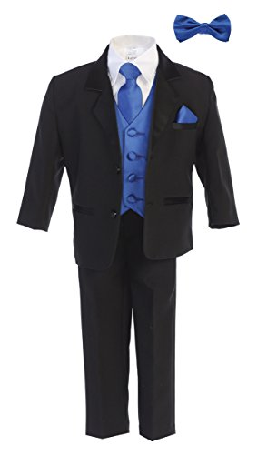 Little Gents Boys Tuxedo Suit Black with Royal Blue Vest - Toddler Tuxedo for Wedding and Communion - Modern Fit (Size 4t)