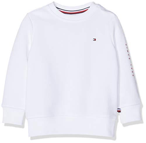 Calvin Klein Flags Interlock Crew Felpa, Bianco (Bright White 123), 86 Bimbo