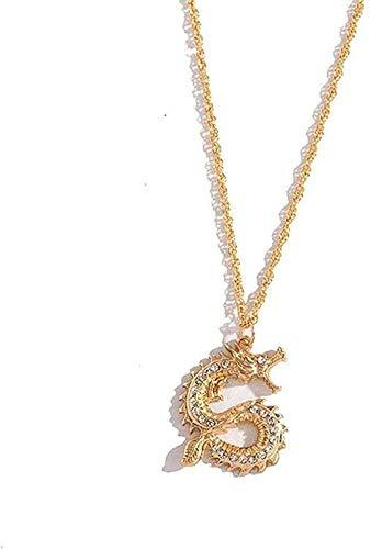 WYDSFWL Collares Collar de Cadena de Oro Moda Dragón Animal Hombres Colgante Gargantilla Collar Coreano Accesorios de joyería de Encaje Negro