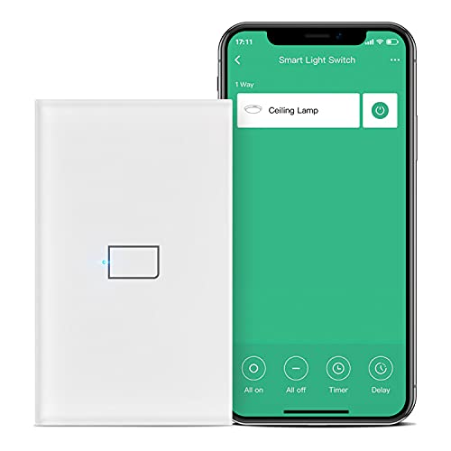 BroadLink Smart Touch Wall Light Switch, 1-Gang Single Live Wire Switch, No Neutral or Capacitor Required, Glass Panel, Compatible with Alexa, Google Home and IFTTT, Hub Required (No Hub)