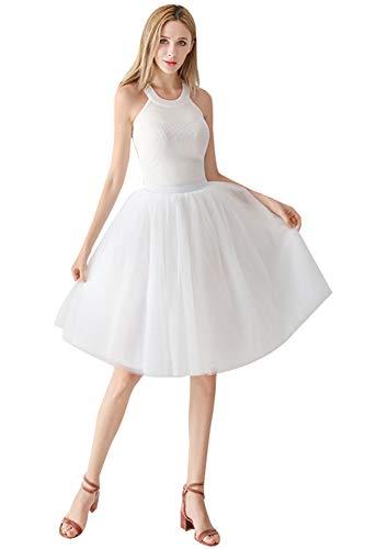 Babyonlinedress Damenrock Tüllrock Elasthan Band Tutu 50er Karneval Tanzkleid Unterkleid Crinoline Petticoat für Rockabilly Kleid, Weiß, One Size / Einheitsgröße