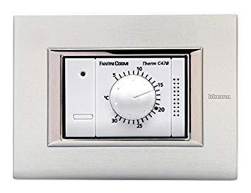 Fantini Cosmi C47B C47B-Termostato Ambiente da Incasso, Alimentato a 230V-50Hz, 1 Temperatura, Bianco